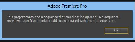 No sequence preset preview file or codec