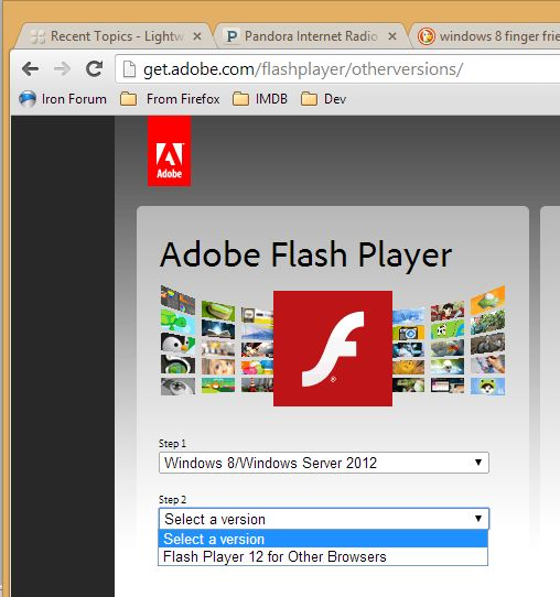 cant get adobe flash to download