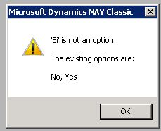 NAV 2009 Si is not an option